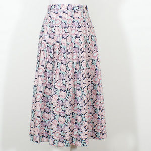 Vintage Country Floral Cotton Pleated Midi Skirt
